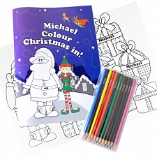 Personalised Its Christmas Elf Colouring Book with Pencil Crayons