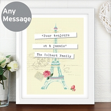 Personalised Vintage Pastel Travel White Poster Frame UK [United Kingdom]