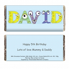 Personalised Monster Alphabet Milk Chocolates Bar