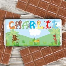 Personalised Animal Milk Chocolates Bar