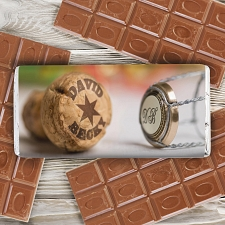 Personalised Champagne Cork Milk Chocolates Bar