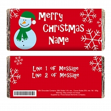 Personalised Snow Man Christmas Milk Chocolates Bar