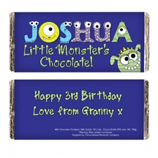 Personalised Little Monsters Milk Chocolates Bar