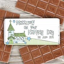 Personalised Blue Church Milk Chocolates Bar