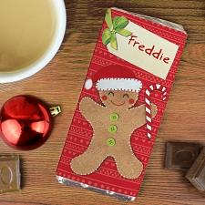 Personalised Felt Stitch Gingerbread Man Milk Chocolate Bar