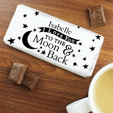 Personalised To the Moon and Back Milk Chocolates Bar