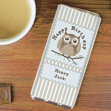 Personalised Woodland Owl Milk Chocolates Bar