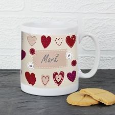 Fabric Heart Design Mug delivery to UK [United Kingdom]