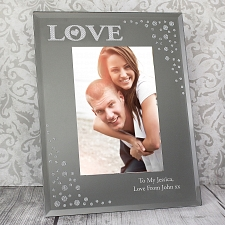 Personalised LOVE Diamante Glass Photo Frame Delivery UK