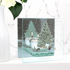 Personalised A Winters Night Mirrored Glass Tea Light Holder