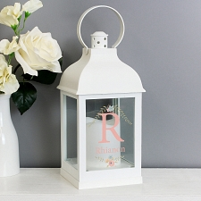 Personalised Floral Bouquet White Lantern to UK [United Kingdom]