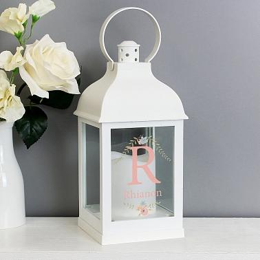 Personalised Floral Bouquet White Lantern to UK [United Kingdom]