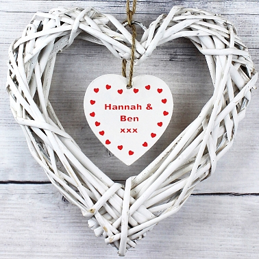 Personalised Wooden Inner Hanging Heart Design delivery to UK [United Kingdom]