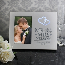 Personalised Hearts Mr & Mrs 6x4 Light Up Frame