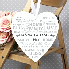 Personalised Family Typography Large Wooden Heart Decoration UK [United Kingdom]