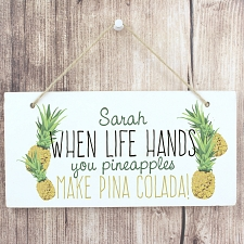 Personalised Pineapple Wooden Sign UK [United Kingdom]