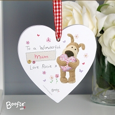 Personalised Boofle Flowers Wooden Heart Decoration UK [United Kingdom]