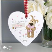 Personalised Boofle Flowers Wooden Heart Decoration UK [United Kingdom]