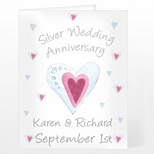 Personalised Silver Anniversary Card