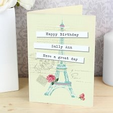 Personalised Vintage Pastel Travel Card delivery to UK [United Kingdom]