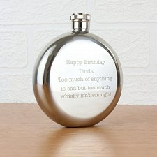 Personalised Any Message Stainless Steel Round Hip Flask