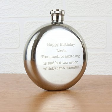 Any Message Stainless Steel Round Hip Flask