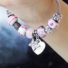 Personalised Butterfly & Heart Charm - Candy Pink - 18cm delivery to UK [United Kingdom]