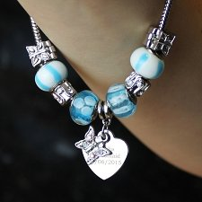 Personalised Butterfly & Heart Charm - Sky Blue - 18cm delivery to UK [United Kingdom]