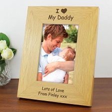 Personalised Oak Finish 6x4 I Heart Photo Frame