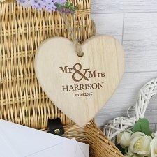Personalised Mr & Mrs Chunky Wooden Heart Decoration UK [United Kingdom]