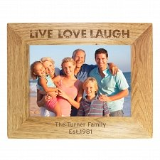 Personalised Live Laugh Love 5x7 Wooden Photo Frame