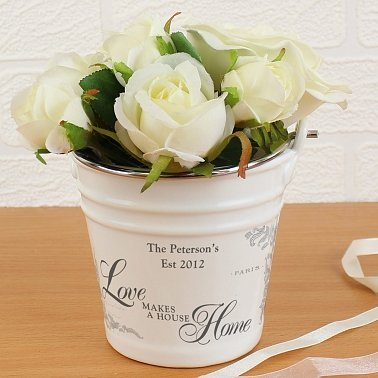 Love Makes A House Home Porcelain Bucket