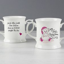 Personalised Cute Teddy My 1st Xmas Loving Mug