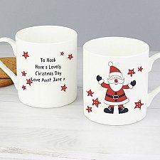 Personalised Spotty Santa China Mug Delivery To UK