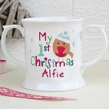 Personalised Felt Stitch Robin Loving Mug