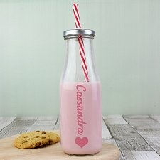 Personalised Heart Motif Milk Bottle delivery to UK [United Kingdom]