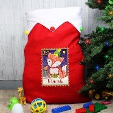 Personalised Festive Fox Multicoloured Pom Pom Sack