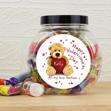 Personalised Teddy Heart Sweet Jar UK [United Kingdom]