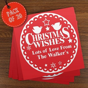 Personalised Christmas Wishes Pack of 20 Cards