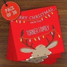 Personalised Retro Reindeer Pack of 20 Christmas Cards