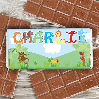 Personalised Animal Milk Chocolates Bar