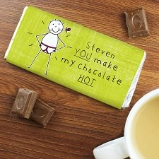Personalised Purple Ronnie You make my Chocolates HOT... Milk Chocolates Bar