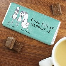 Personalised Purple Ronnie Bride & Groom Wedding Milk Chocolates Bar