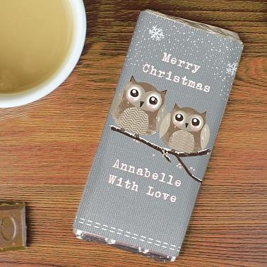 Woodland Owl Christmas Chocolate Bar