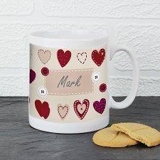 Fabric Heart Design Mug delivery to UK [United Kingdom]