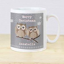 Personalised Woodland Owl Christmas Mug