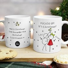 Personalised Purple Ronnie Christmas Couple Mug