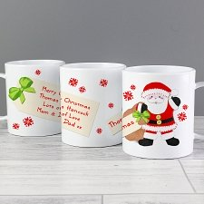 Personalised Felt Stitch Santa Plastic Mug