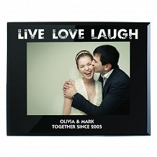 Personalised Live Love Laugh Black Glass 5x7 Photo Frame