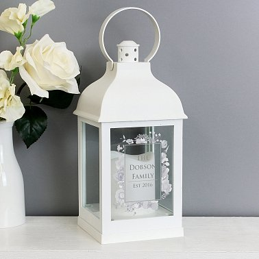 Personalised Soft Watercolour White Lantern delivery to UK [United Kingdom]